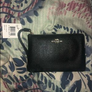 Plain Black Coach Wristlet